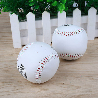 2Pcs Trainning BaseBall Softball Base Ball Soft Leather White Activity