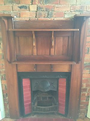Antique Cast iron Fireplace Insert and Timber Mantle