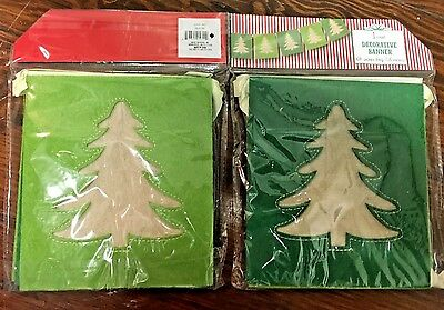 "CHRISTMAS TREE BANNER 64"" DECORATION Felt Burlap Ribbon Lot"