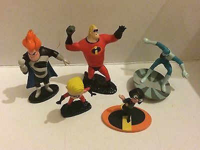 """DISNEY FIGURE BUNDLE SET THE INCREDIBLES Syndrome, Frozone, Edna Etc  4"""" Approx"""