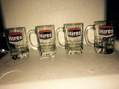 Set Of 4 Hires Root Beer Glass Mugs With Hires Logo In Good Condition!