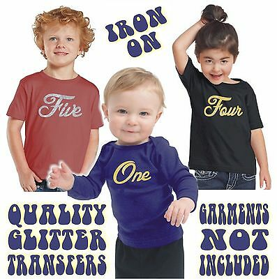 Kids Iron On Pro Cut Real Flakeless Gold / Silver Glitter Heat Transfer Age 1-6