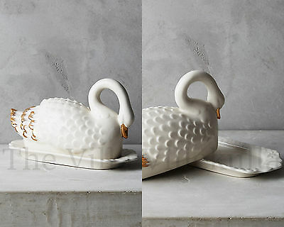 New Anthropologie Swan Butter Dish ~ Sold Out & Hard to Find