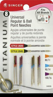 Singer Notions Titanium universale Reg and Machine Needles Ball Point-Confezione