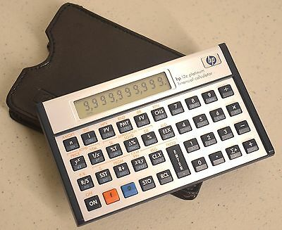 Hewlett Packard HP 12C Platinum Financial Calculator with protective cover