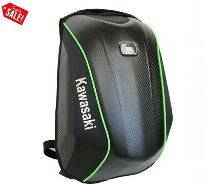 Black KAWASAKI NO DRAG Hard Shell Motorcycle Backpack EDC Bike Riders Laptop Bag