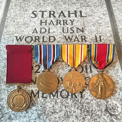 Named Harry Strahl 1945 Wwii Us Navy Good Conduct Medal Campaign Group +Research