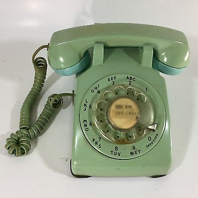 Vintage Rotary Dial  Phone Bell System Aqua Blue Teal