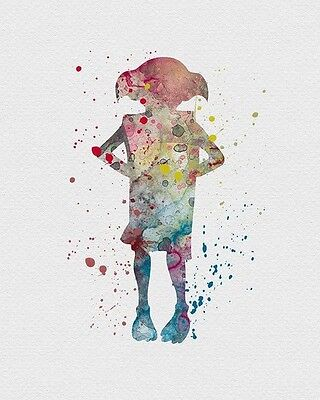 HARRY POTTER DOBBY WATERCOLOUR ART IMAGE  A4 Poster Laminated Gloss Print (New)