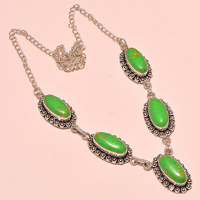 """Pleasant Green Mohave Turquoise Gemstone .925 Sterling Silver Necklace 18"""""""
