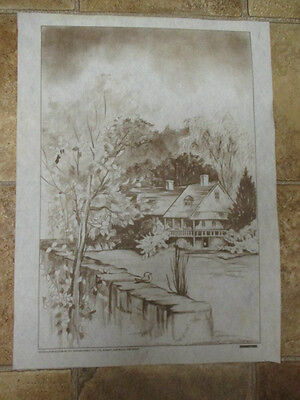 """*vtg"""" Hobbytex Preshaded Print To Paint """"home Is Where The Heart Is""""  #7479*"""