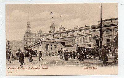"""""""""""postcard Central Station And Ranleigh Street,liverpool"""""""""""