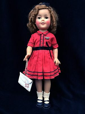 Beautiful Ideal 1950's 17 inch ShirleyTemple Original Red Dress and Accessories