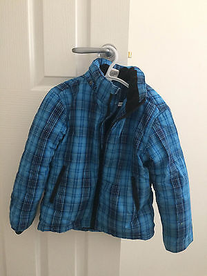 Boys Winter Ski Jacket Blue Hooded Checkered Size 5