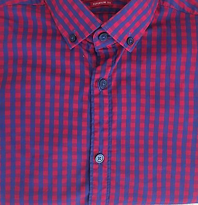 Men's Zara Man Shirt, Red And Blue Check, Size S