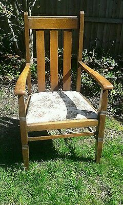 Oak, Arts and Crafts, carver, library chair