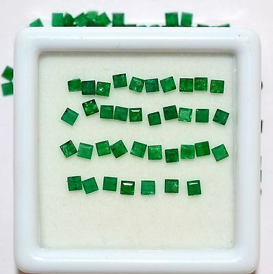 Natural Emerald Square Cut 2.25 mm 1.13 Cts 15 Pcs Untreated Loose Gemstones