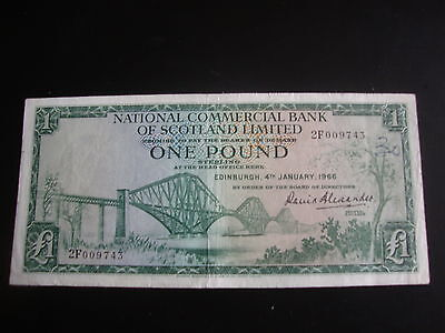 RARE  NATIONAL COMMERCIAL BANK SCOTLAND ONE POUND BANK NOTE 1966 Prefix 2F009743
