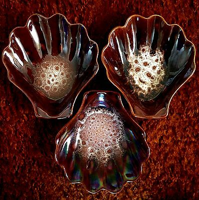 Vintage Honiton Pottery. Three larger honeycomb scallop dishes.