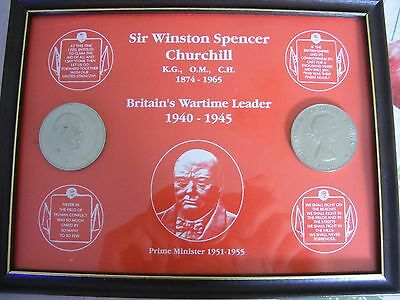 Sir Winston Spencer Churchill Framed Coins 1965  Perfect Condition Collectible