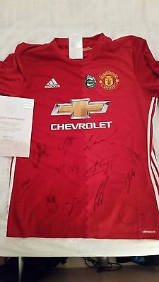 Man Utd 2016/17 home shirt signed by 11 first team players