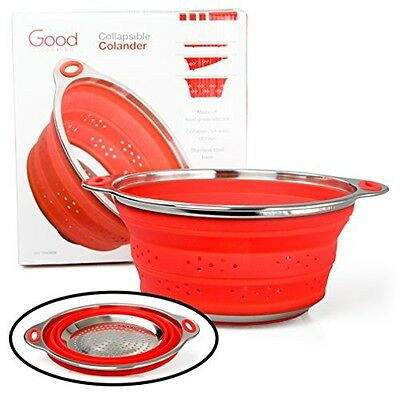 """Good Cooking Collapsible Colander with Stainless Steel Base (Extra Large 9.5"""""""