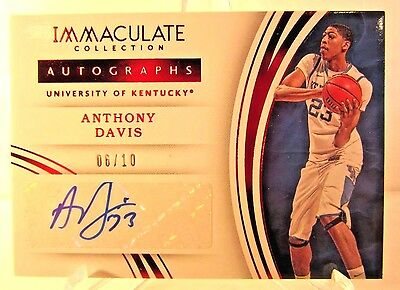 2016 Immaculate Collegiate ANTHONY DAVIS University of Kentucky Auto #6/10!