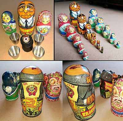 VINTAGE RUSSIAN nesting Dolls Matryoshka Unique Private Order + Army cups