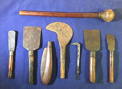 Lot of 7 Vintage Hmong Harvesting Tools and Simple Opium Pipe