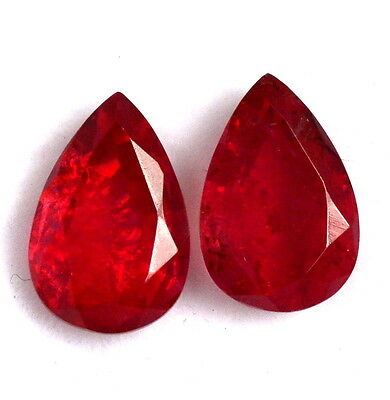 """Wonderful Ruby Color """"Doublet"""" Pear Cut pair 12x8 mm 6.85 Cts Loose Gemstones"""