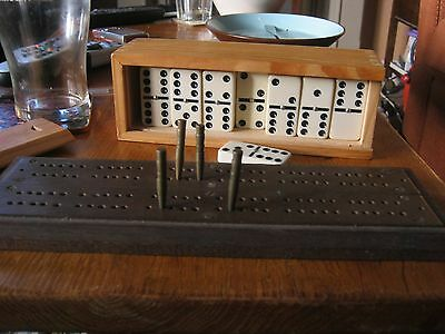 Antique Vintage Cribbage Board With Pegs
