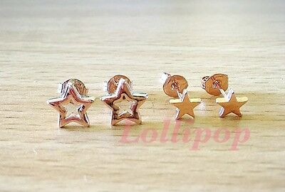 18k Rose Gold Plated Star Studs Earrings 2 Pairs New