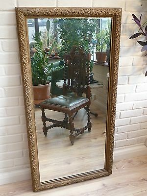 Antique Circa 18th Century Ornate Large Wood Framed Mirror