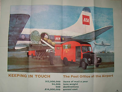 GPO 1960's Poster KEEP IN TOUCH The Post Office at the Airport 29x36 inches