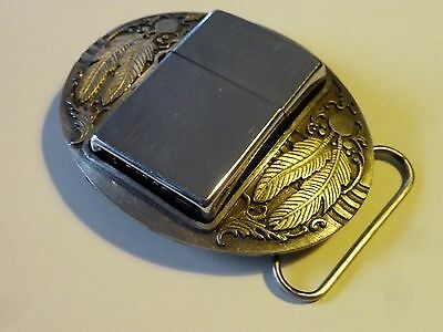 Siskiyou American Indian Pewter Belt Buckle With Classic Zippo Lighter USA 1994
