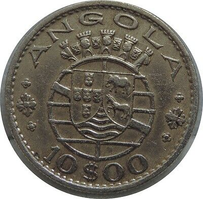 Angola 10 Escudos 1969 kM#79 NICKEL HIGH DETAILS C39