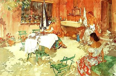 """""""The Red Terrace"""" (Provence) Fine Art - After Sir William Russell Flint -11""""x14"""""""