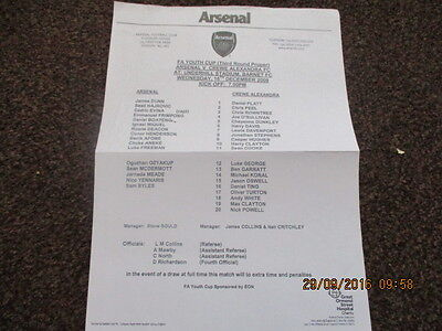 2009 Fa Youth Cup  Arsenal V Crewe Alexandra U18 Teamsheet