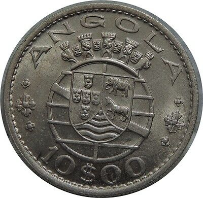 Angola 10 Escudos 1969 kM#79 NICKEL HIGH DETAILS C48