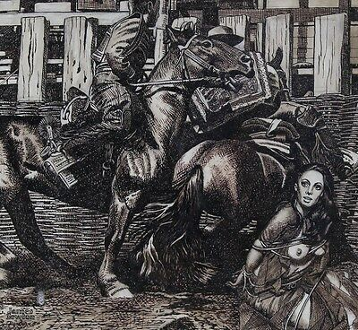 James Newton - The Wild West, Mid 20th Century Pen and Ink