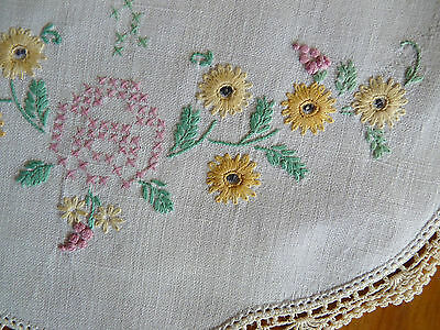 SPRING CROSS STITCH Vintage Hand Embroidered Large Doily Table Centre