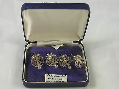 Good Quality SET 4 Quarrier Ward 1990 Silver Corn On The Cob Holders 18 grams