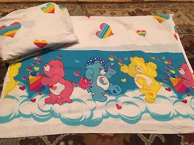 Vintage 80s CARE BEARS TWIN Sheet Set Flat Fitted HEARTS Sweet Dreams EUC