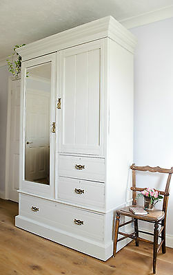 Antique Wardrobe Armoire Compactum Drawers Maple & Co Painted in Farrow & Ball