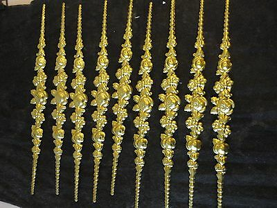 10 new brass floral & leaf embossed mouldings / trims, hollow cast, top quality