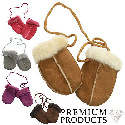 Baby Genuine Sheepskin Mittens Gloves With Keep Safe Cord For Boy & Girl
