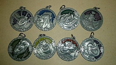 Jackie Chan Adventures Demon 'Bad Guys' Amulets, x8, COMPLETE SET,