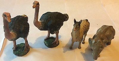 4 Large Vintage German Elastolin Wild Animals - Ostrich, Llama, Elephant