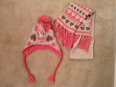 new girls pink and beige Disney minnie mouse hat and scarf set