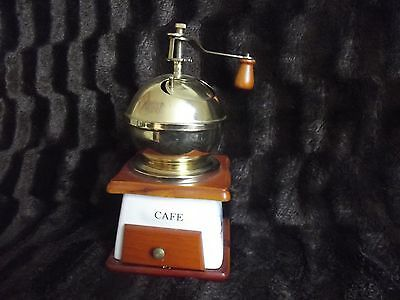 beautiful collectable porclin/brass coffee grinder